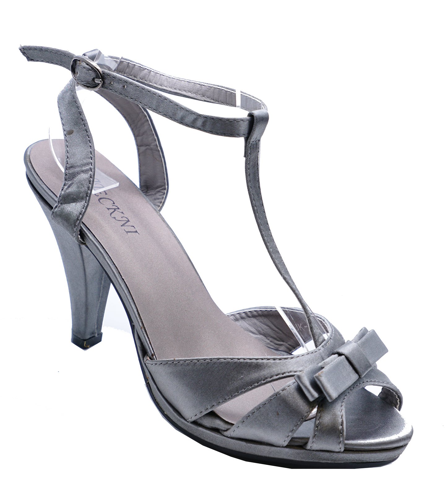 d3b8e9ee1782 Sentinel WOMENS ELEGANT GREY SATIN OPEN-TOE EVENING SANDALS PARTY SHOES  SIZES 3-8