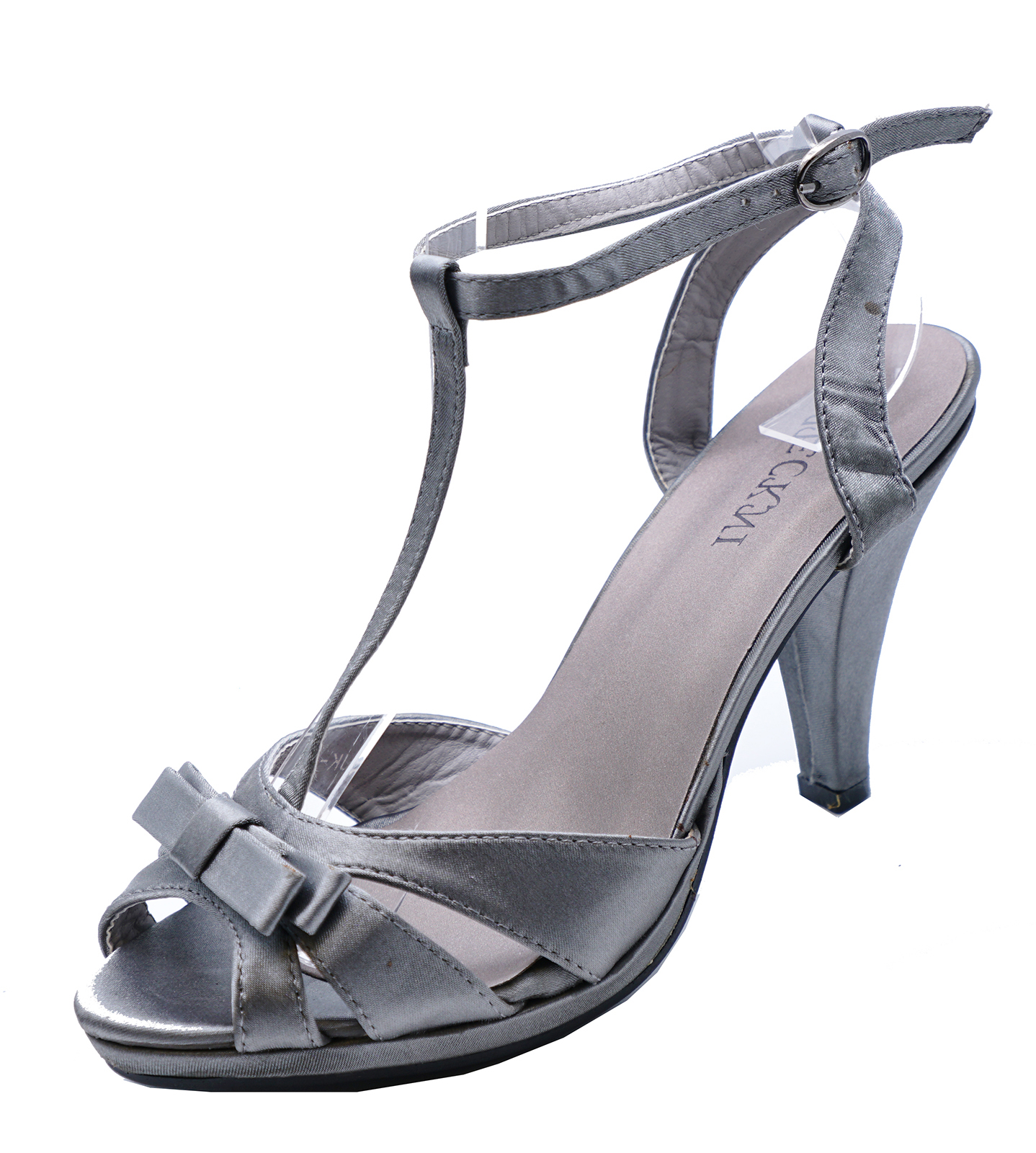 Sentinel WOMENS ELEGANT GREY SATIN OPEN-TOE EVENING SANDALS PARTY SHOES  SIZES 3-8