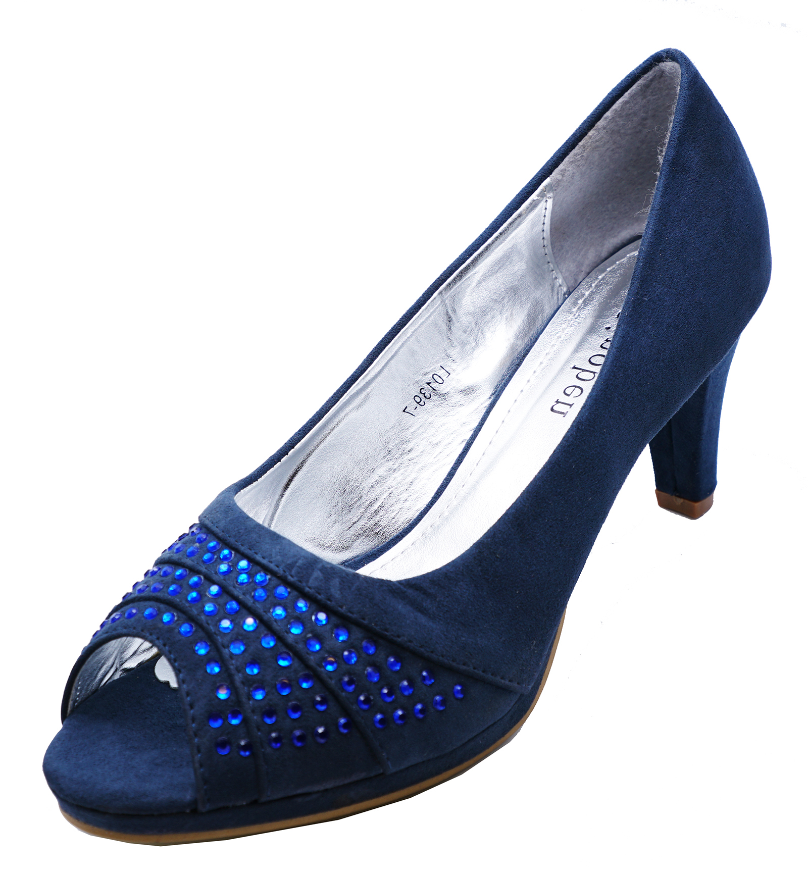180c7b4f7 Sentinel WOMENS NAVY DIAMANTE COMFY OPEN-TOE SLIP-ON SMART COURT WORK SHOES  SIZES 3