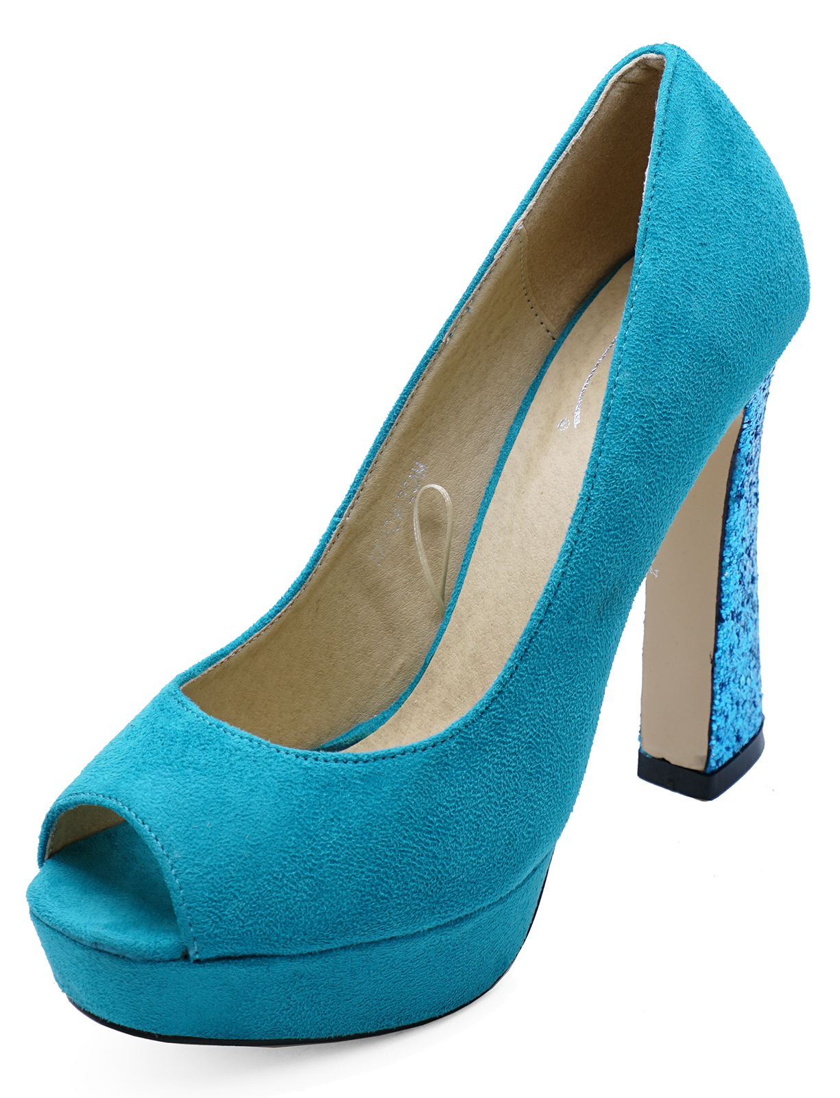 1180cad508 Sentinel WOMENS TURQUOISE SLIP-ON OPEN-TOE COURT PLATFORM HIGH-HEEL PARTY  PROM SHOES