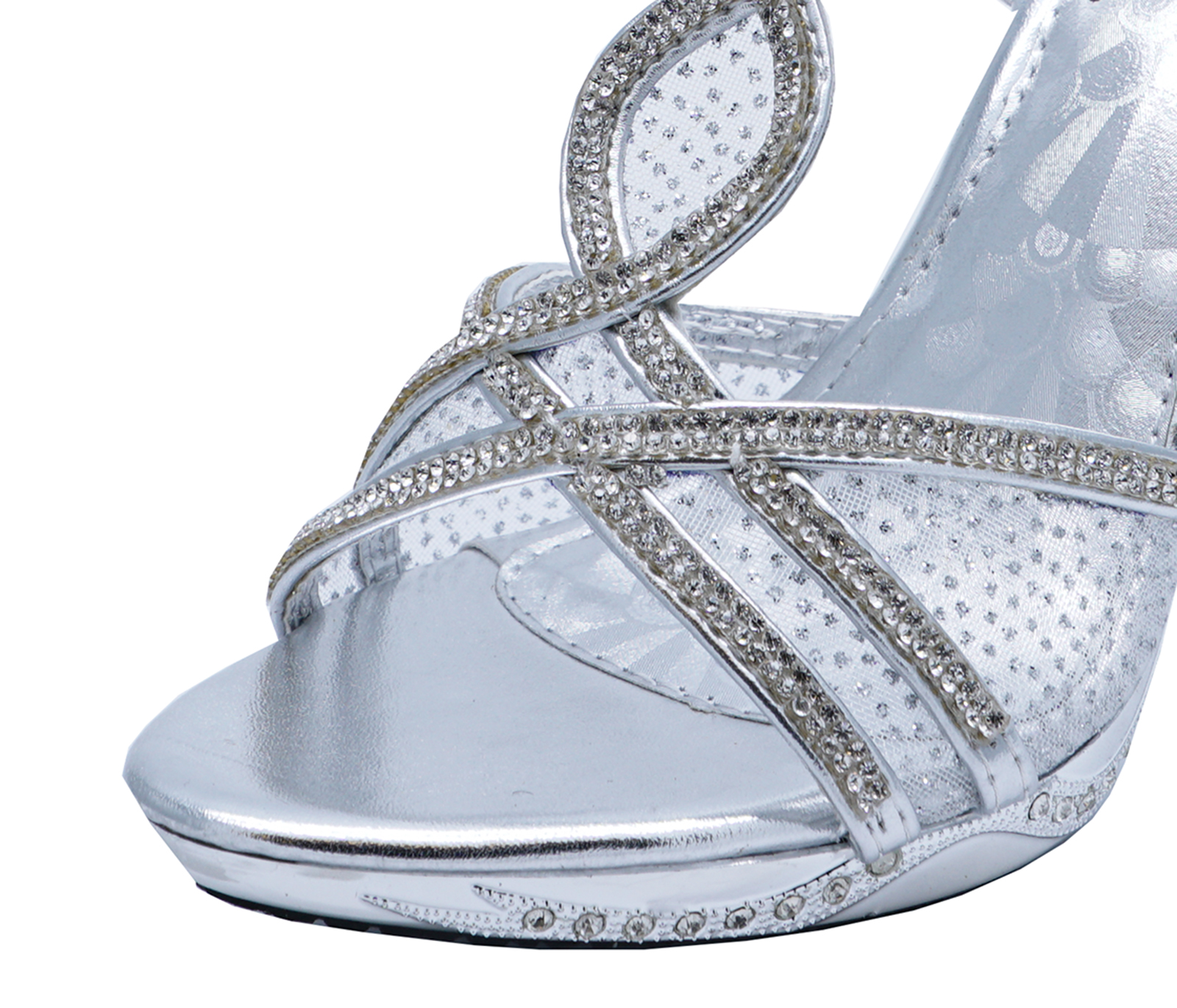9ab6ab620ee Details about LADIES SILVER DIAMANTE WEDDING BRIDAL BRIDESMAID PARTY  ELEGANT EVENING SHOES 3-8