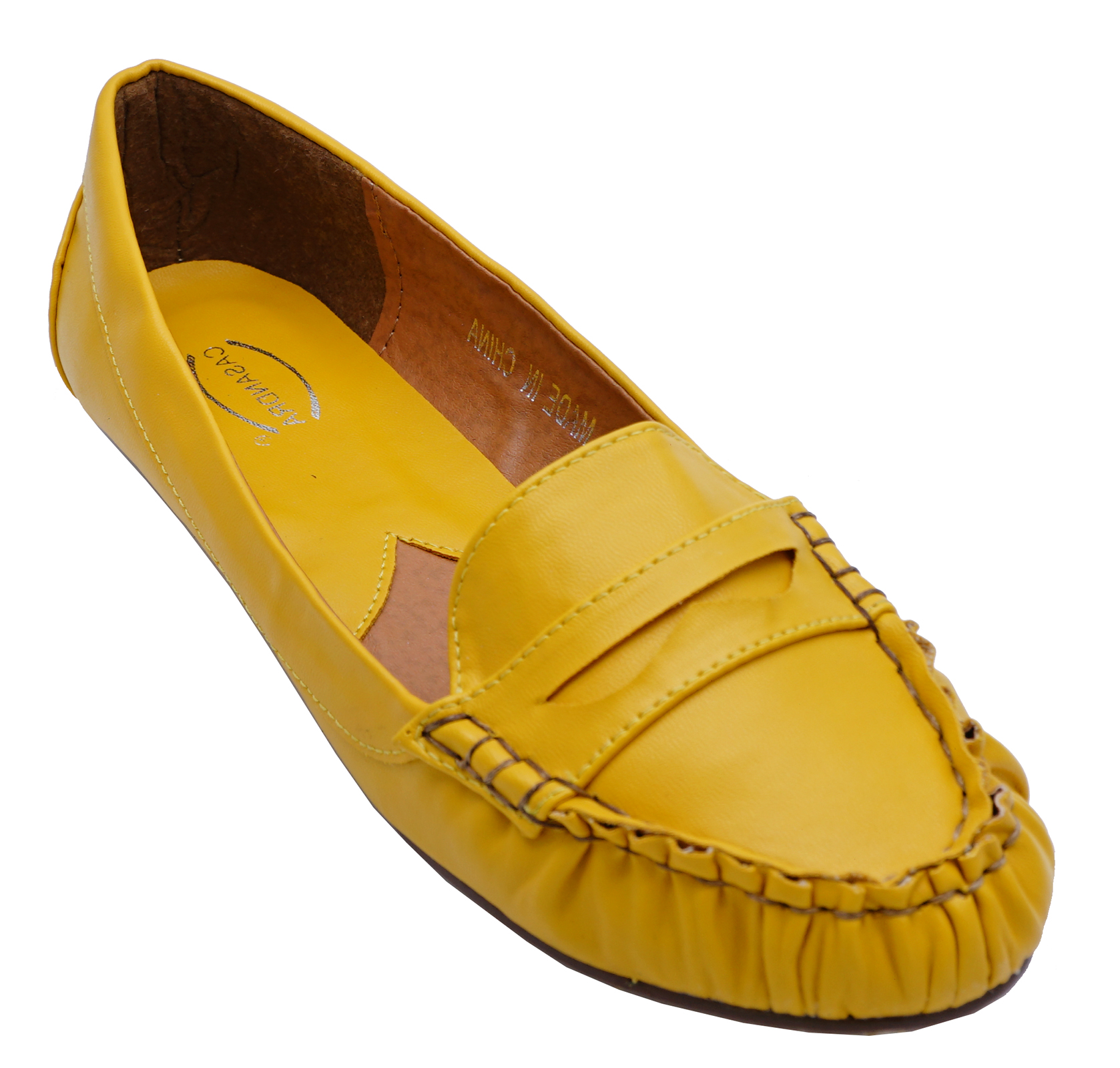 3956fb2c2ea Sentinel LADIES YELLOW FLAT SLIP-ON LOAFERS SMART COMFY WORK MOCCASIN SHOES  PUMPS 3-8