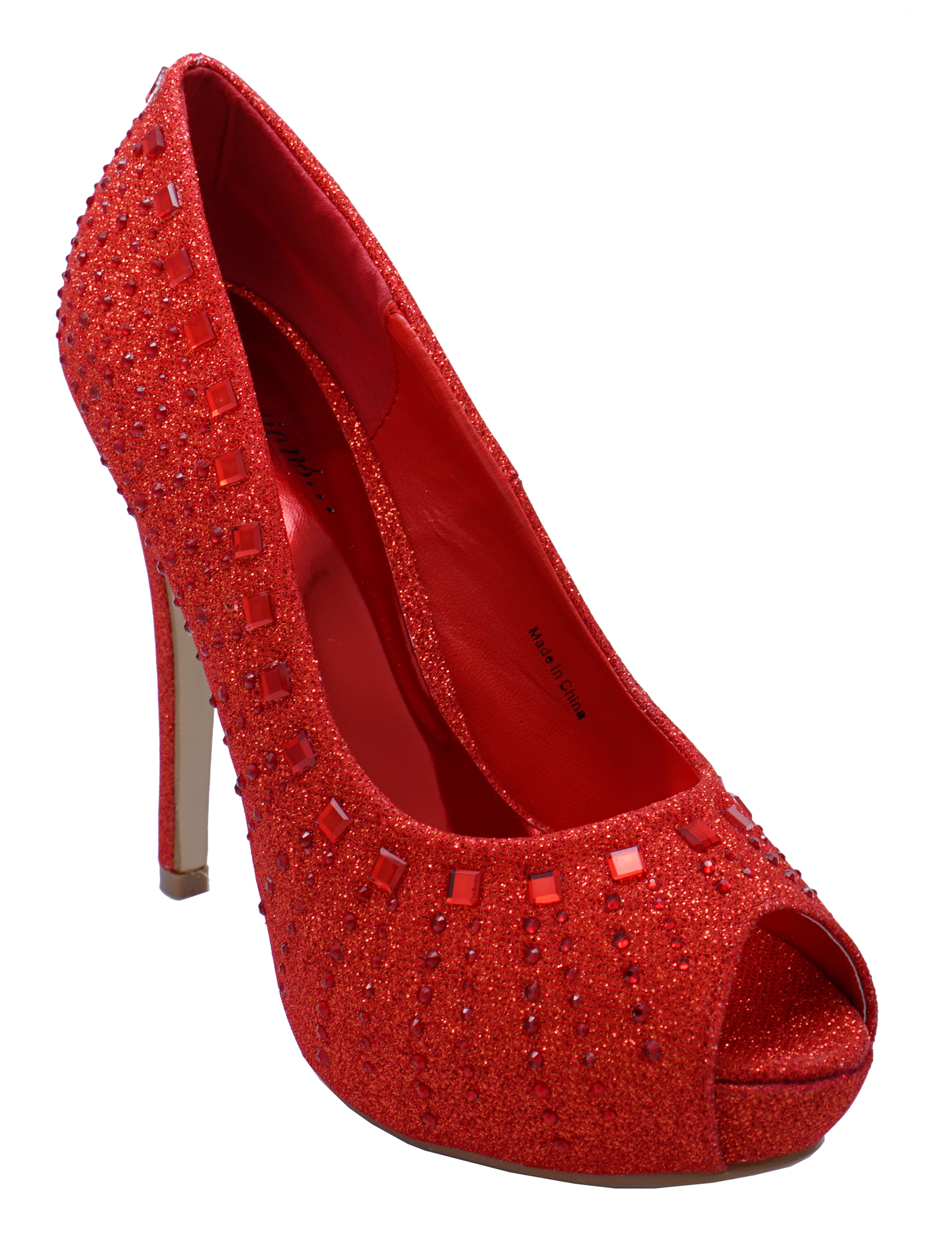 63edff0a731c Details about WOMENS RED GLITTER OPEN-TOE WEDDING PROM DIAMANTE EVENING  SHOES SIZES 3-8