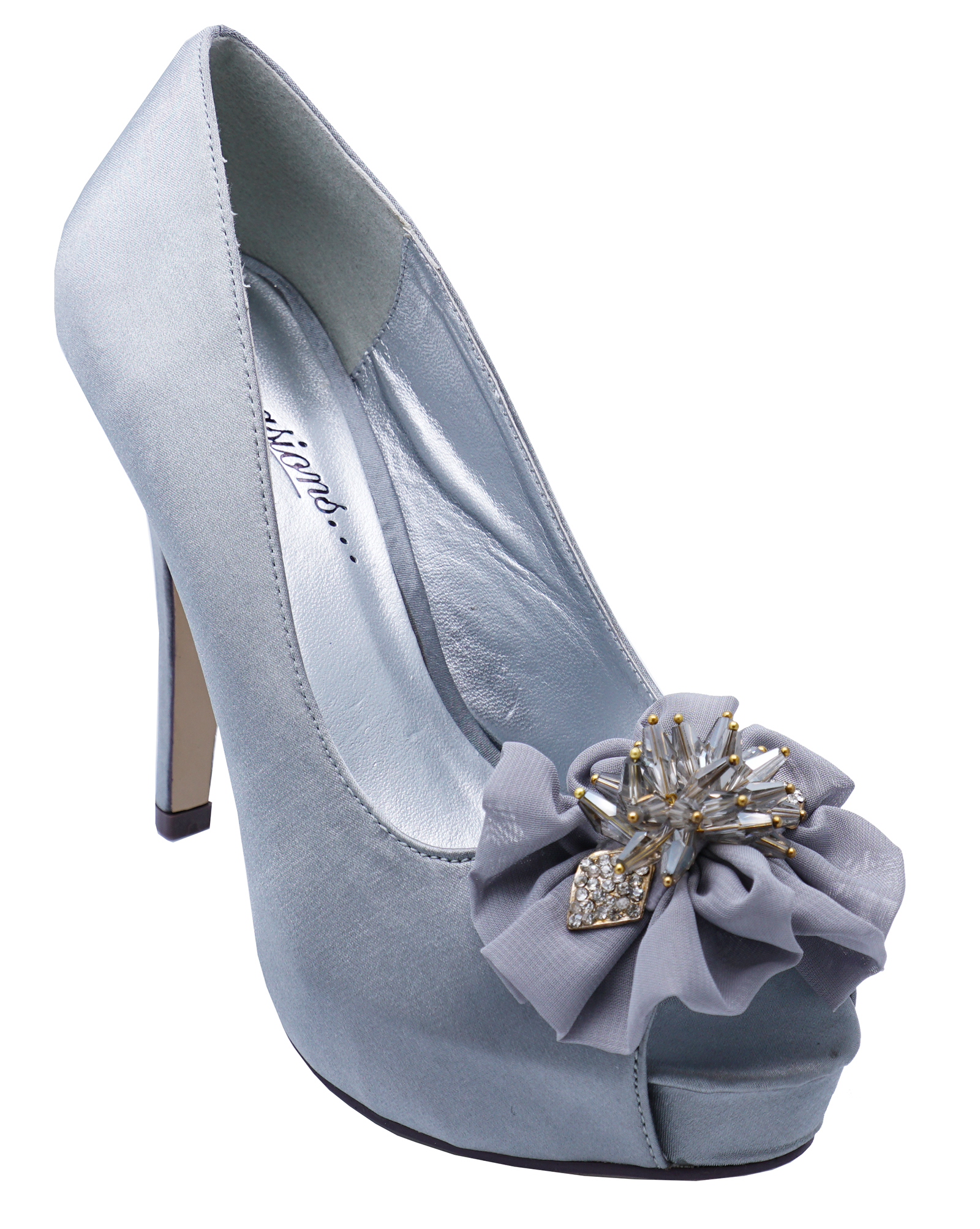 2d711162d0fb Sentinel WOMENS SILVER SATIN OPEN-TOE WEDDING PARTY BRIDESMAID PROM SHOES  SIZES 3-8
