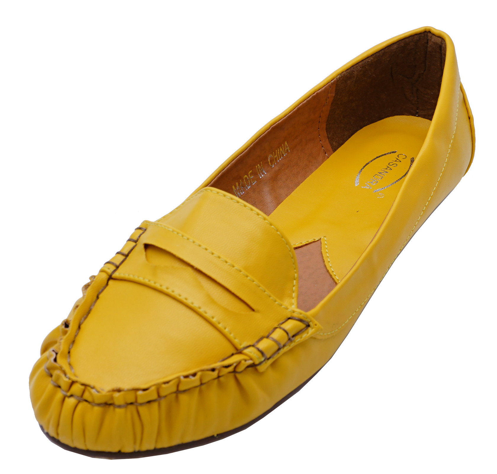 75b0fa0b481 Sentinel WOMENS FLAT YELLOW SLIP-ON MOCCASINS DECK LOAFERS COMFY CASUAL  SHOES UK 3-8