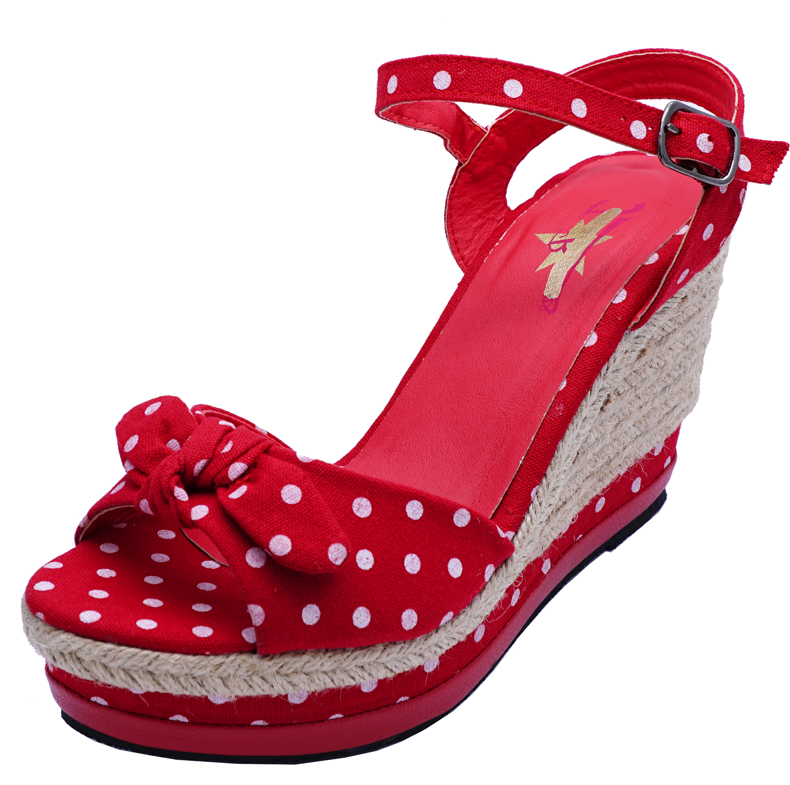 64e962bd15059 LADIES RED POLKA DOT ROCKABILLY OPEN-TOE COMFY WEDGES SANDALS SHOES ...