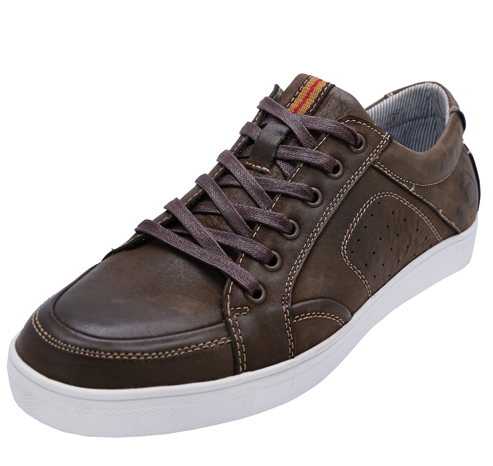 MENS-BROWN-LEATHER-COTSWOLD-LACE-UP-CASUAL-TRAINERS-PUMPS-COMFY-SHOES-UK-10-12 thumbnail 3