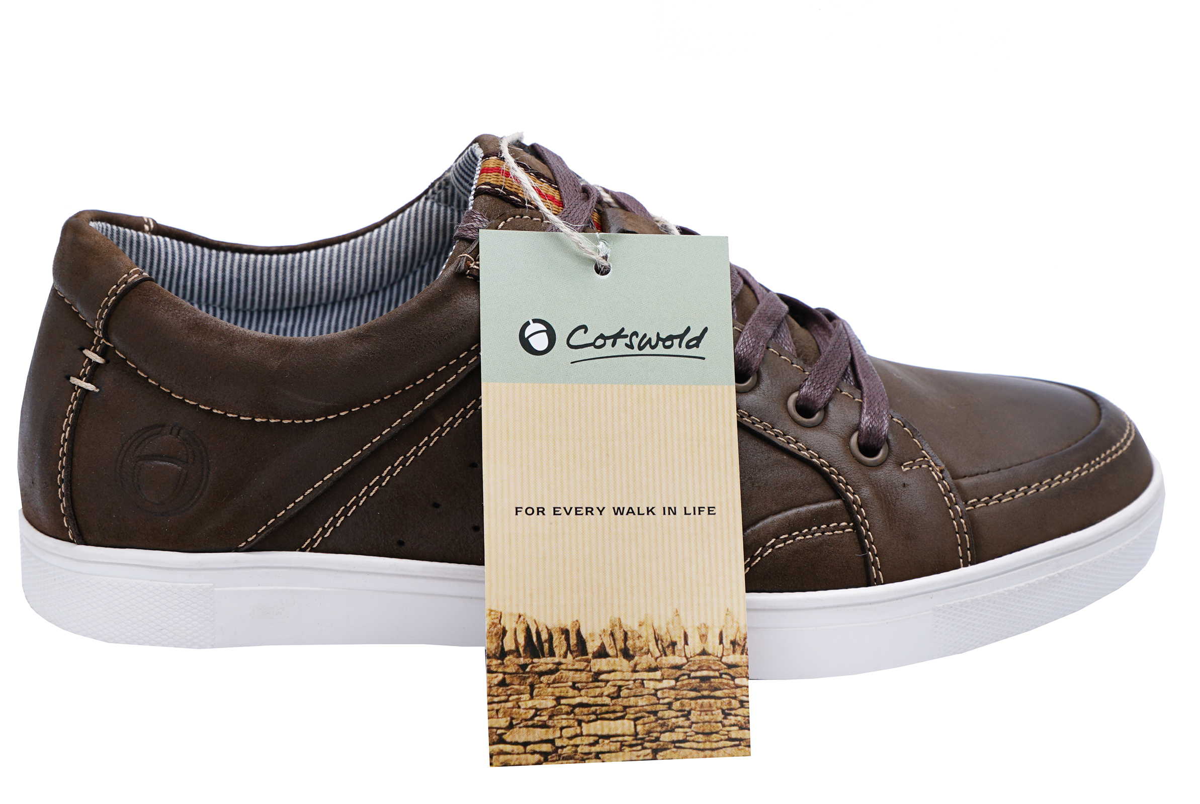 MENS-BROWN-LEATHER-COTSWOLD-LACE-UP-CASUAL-TRAINERS-PUMPS-COMFY-SHOES-UK-10-12 thumbnail 4