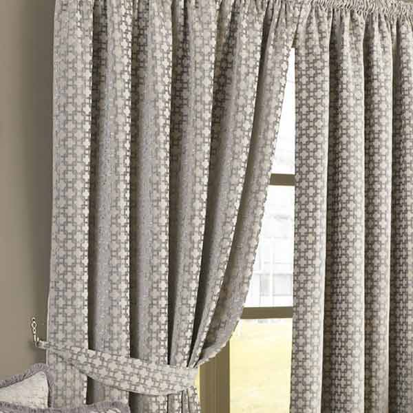 Paoletti Belmont Chenille Jacquard Woven Lined Pencil Pleat Curtains