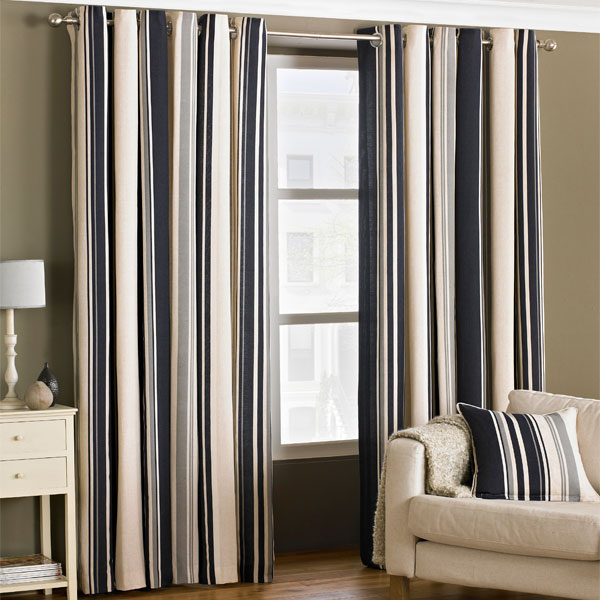Riva Home Broadway Stripe Woven Lined Eyelet Curtains