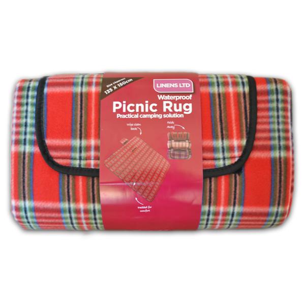Red or Blue Tartan Large 150x180cm Waterproof Backed Fleece Picnic Blanket Rug