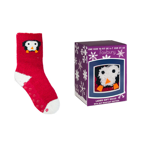 Details about Foxbury Women s Christmas Cosy Penguin Non-Slip Socks Gift Box 945621c5c