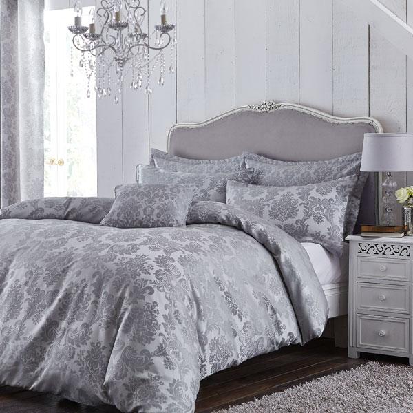 thumbnail 5 - Catherine Lansfield Damask Jacquard Embellished Duvet Cover Set, Silver