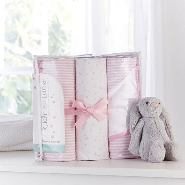 Clair-de-Lune-Stars-amp-Stripes-3-Piece-Cot-Bed-Bedding-Bale-Gift-Set