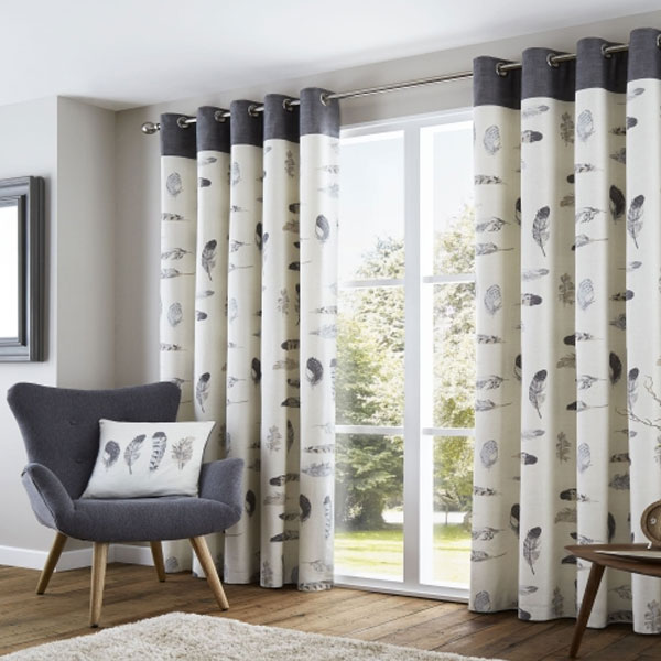 Fusion Idaho Eyelet Lined Curtains Set Of 2 In Charcoal 168 X 229 Cm
