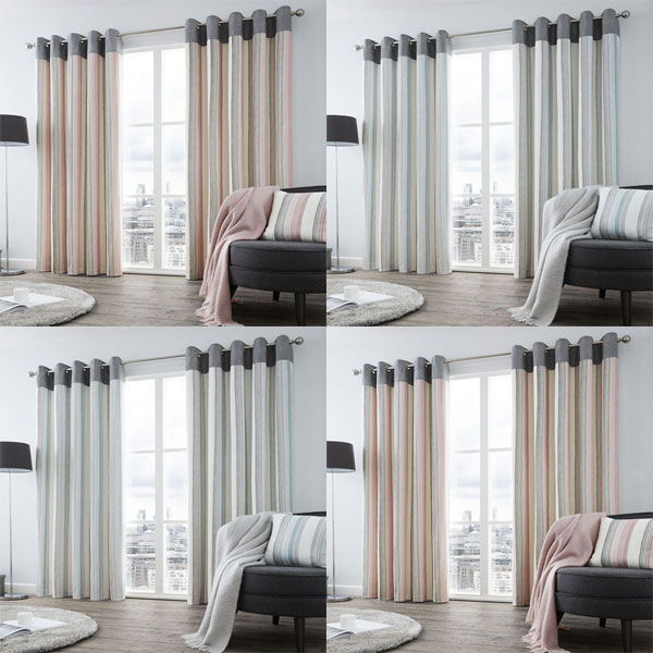 Image Is Loading Fusion Rydell Stripe 100 Cotton Eyelet Lined Curtains