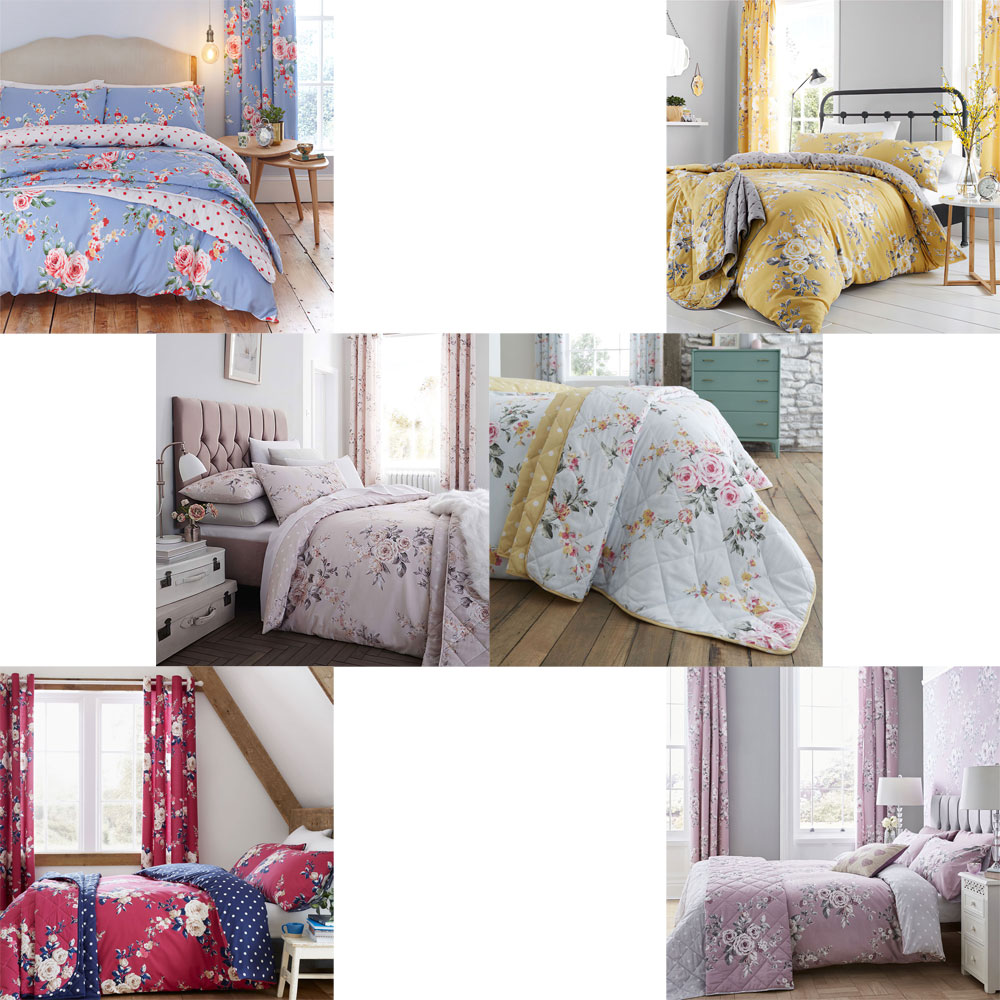 Catherine Lansfield Canterbury Floral Blue Duvet Set Eyelet Curtains /& Bedspread