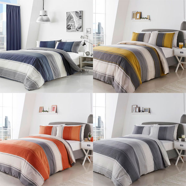 d2250263efe6 Details about Fusion Betley Stripe Reversible Duvet Cover Set