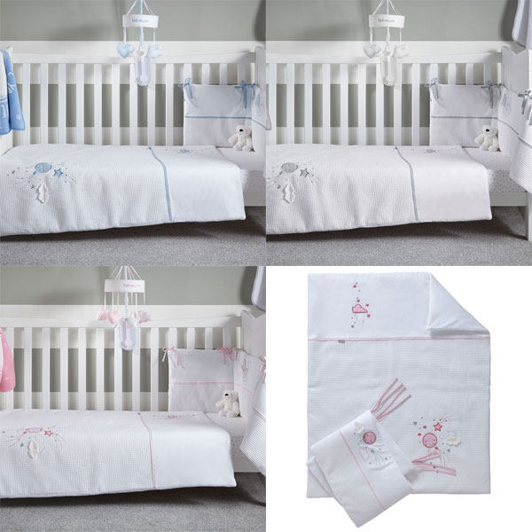 Clair de Lune Stars /& Stripes 2 Piece Cot//Cot Bed Quilt /& Bumper Bedding Set