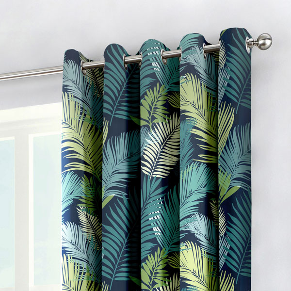 Fusion Tropical Print 100% Cotton Eyelet Eyelet Eyelet Lined Curtains, Multi 5cd2d4