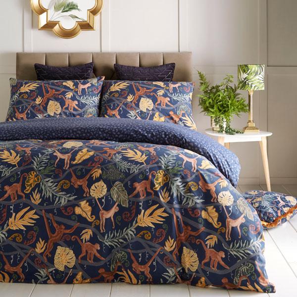 Furn Monkey Forest Print Reversible Duvet Cover Set Midnight Blue Ebay