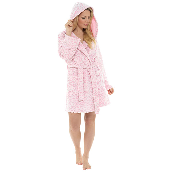 Foxbury-Women-039-s-Snow-Leopard-Print-Fleece-Hooded-Bath-Robe thumbnail 14