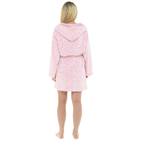 Foxbury-Women-039-s-Snow-Leopard-Print-Fleece-Hooded-Bath-Robe thumbnail 18