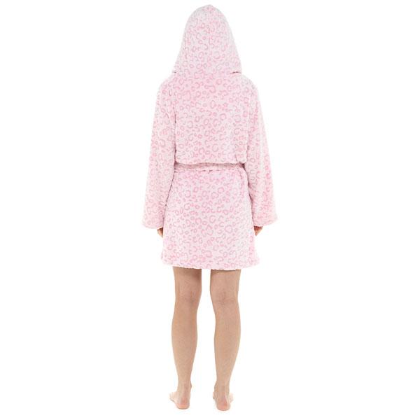 Foxbury-Women-039-s-Snow-Leopard-Print-Fleece-Hooded-Bath-Robe thumbnail 19