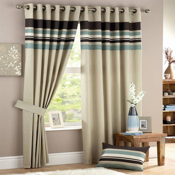 Sentinel Curtina Harvard Stripe Print Eyelet Lined Curtains