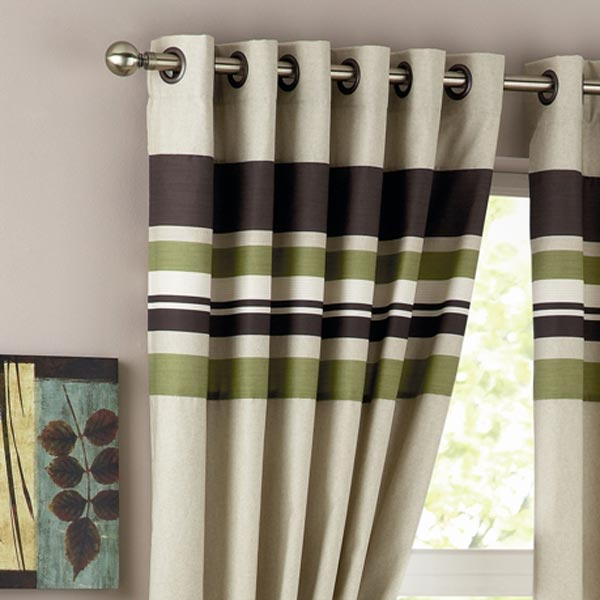 Curtina Harvard Green Eyelet Lined Curtain 66x54
