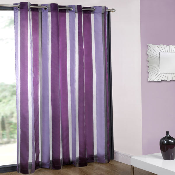 Cairo Organza Stripe Voile Eyelet Curtain Panel Ebay