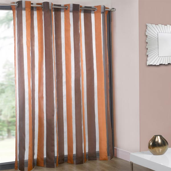 cairo organza stripe voile eyelet curtain panel ebay. Black Bedroom Furniture Sets. Home Design Ideas