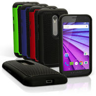 iGadgitz Hard PC Back Shell Cover & Silicone Bumper Case for Motorola Moto G 3rd Generation 2015 XT1540 G3 + Screen Prot