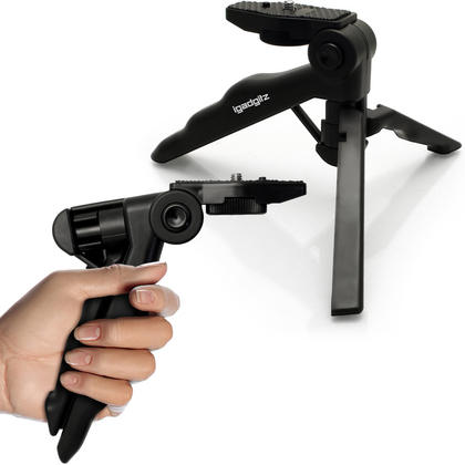 iGadgitz 2 in 1 Pistol Grip Stabilizer and Mini Lightweight Table Top Stand Tripod for Digital Camera, DSLR, & Camcorder Thumbnail 1