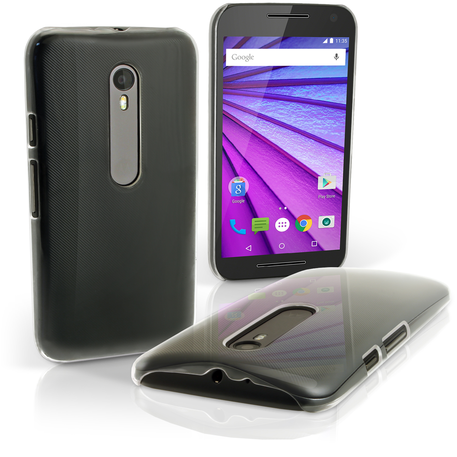 iGadgitz Clear PC Hard Case Cover Shell for Motorola Moto G 3rd Gen 2015 XT1540 + Screen Protector