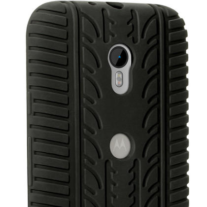 iGadgitz Black Tyre Tread Silicone Gel Skin Case Cover for Motorola Moto G 3rd Generation XT1068 + Screen Protector Thumbnail 6