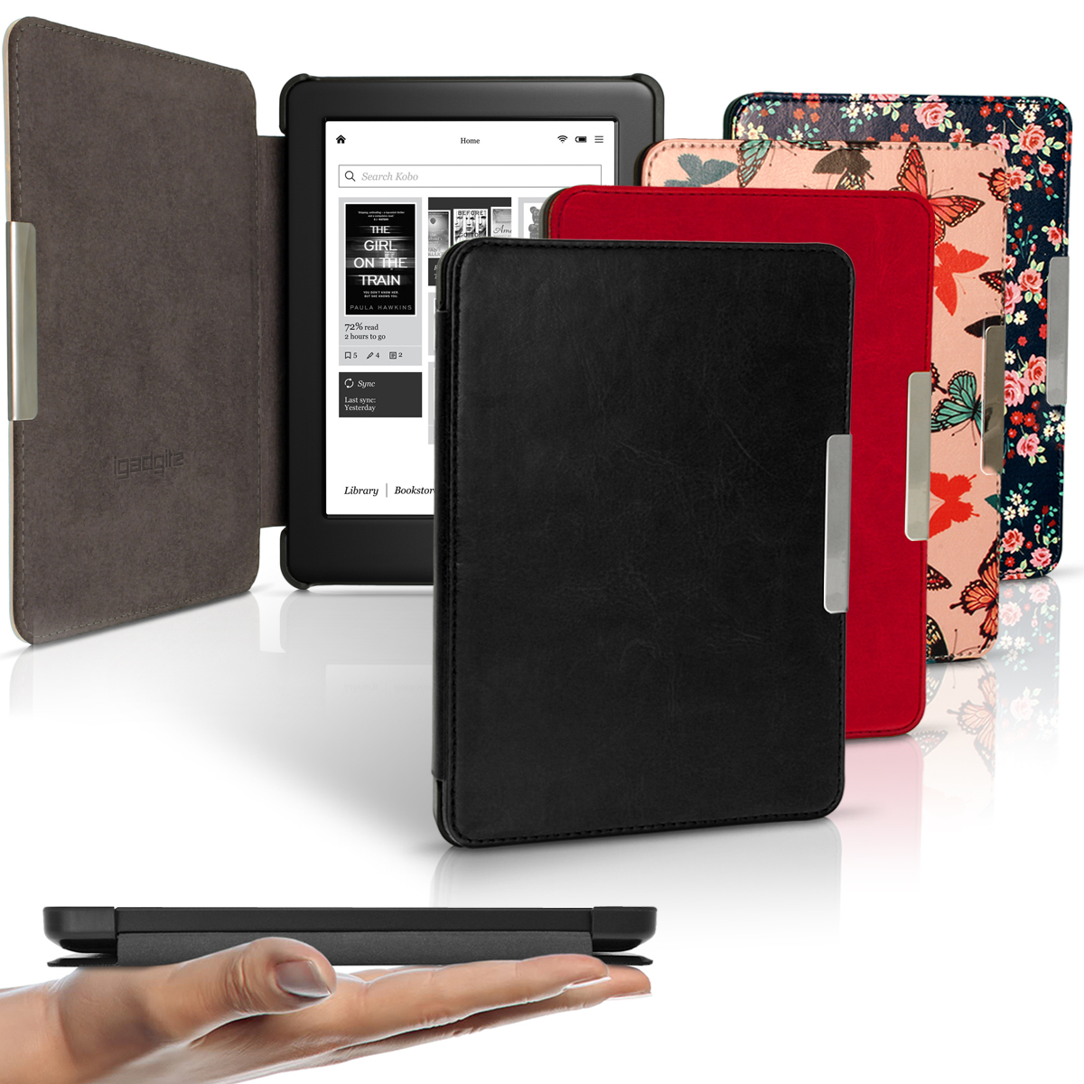 iGadgitz Slim PU Leather Shell Case Cover for Kobo Glo HD, Kobo Touch 2 with Sleep Wake & Magnetic Closure