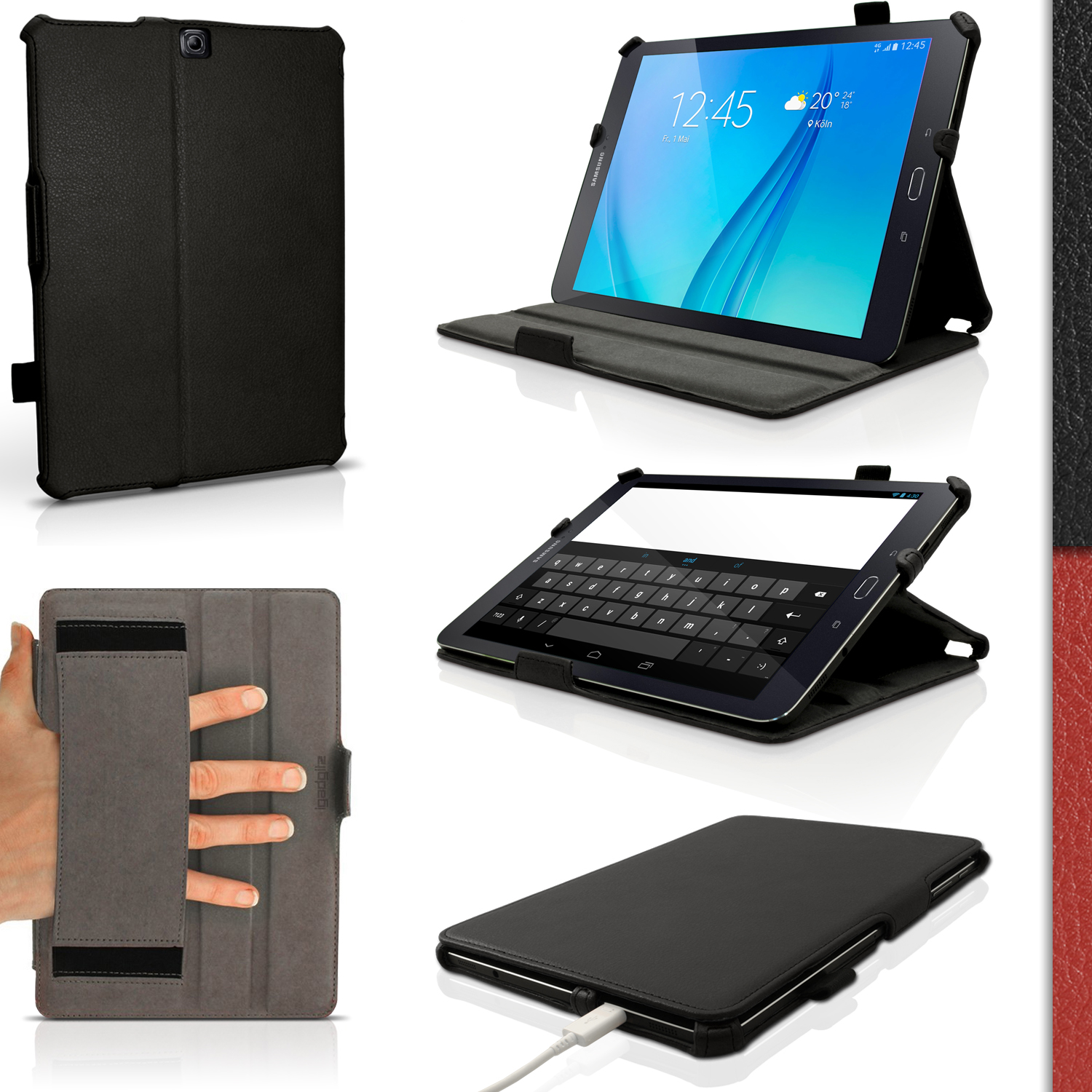 """iGadgitz PU Leather Case Cover for Samsung Galaxy Tab S2 9.7"""" SM-T810 with Stand + Sleep Wake + Screen Protector"""