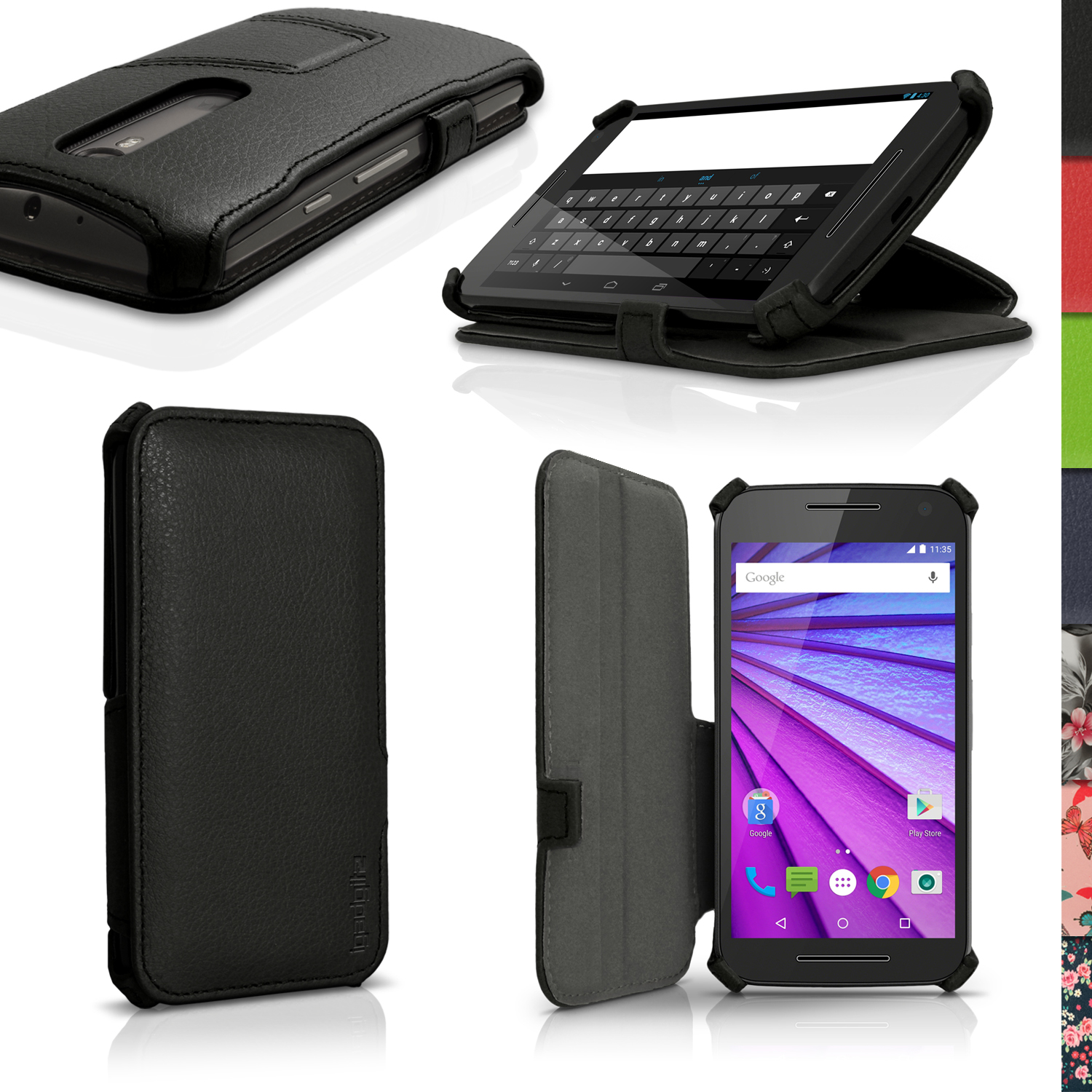 iGadgitz PU Leather Case Cover for Motorola Moto G 3rd Generation  XT1540 + Stand + Auto Sleep Wake + Screen Protector