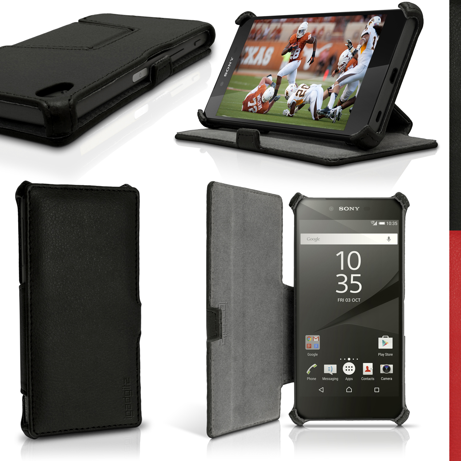 iGadgitz Folio PU Leather Case Cover for Sony Xperia Z5 E6603 with Multi-Angle Viewing Stand + Screen Protector