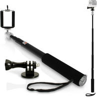 iGadgitz Multi-use Black Extendable Selfie Stick with Adaptor Mount for GoPro Hero6 Black, Fusion, Hero5 Black, Hero5 Session, Hero4, Hero3+, Hero3, Hero2, Hero1, Hero Session