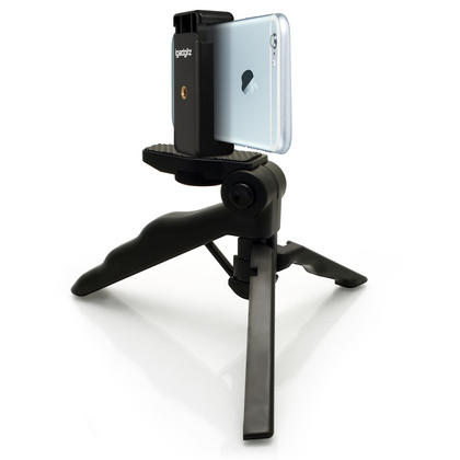 iGadgitz 2 in 1 Pistol Grip Stabilizer and Mini Table Top Stand Tripod + Universal Smartphone Holder Mount Bracket Thumbnail 1