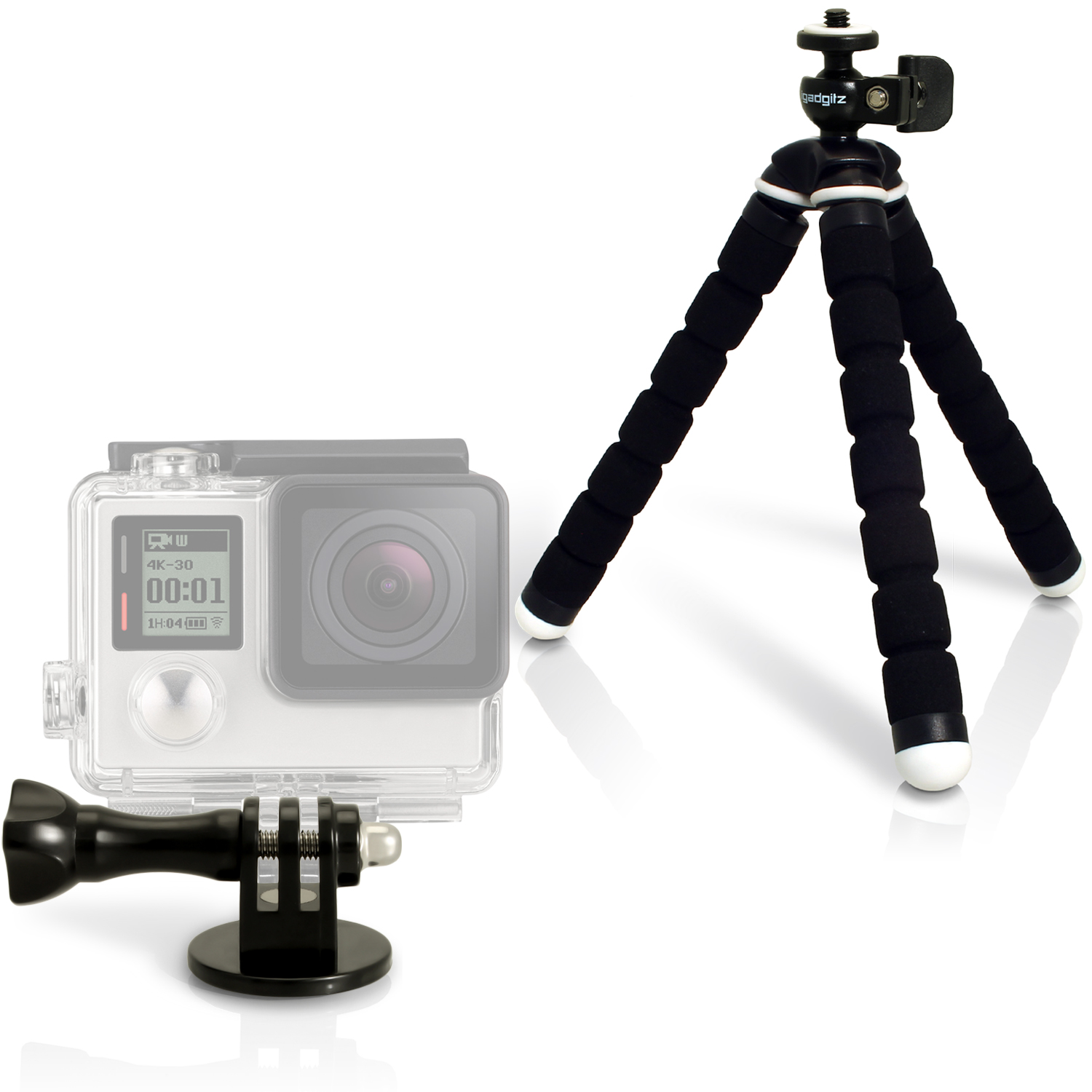 iGadgitz Small Universal Foam Mini Tripod and Adaptor Mount for GoPro Hero6 Black, Fusion, Hero5 Black, Hero5 Session, Hero4, Hero3+, Hero3, Hero2, Hero1, Hero Session