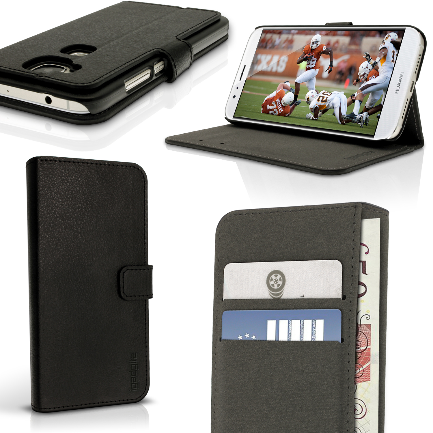 iGadgitz Premium Wallet Flip PU Leather Case Cover for Huawei G8 With Stand + Card Slots + Screen Protector