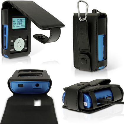 igadgitz Black PU Leather Case Cover for Grundig Micro 75 DAB+ Radio with Belt Loop + Carabiner & Screen Protector Thumbnail 1