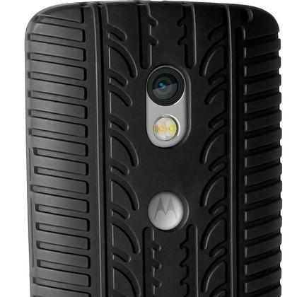 iGadgitz Black Tyre Tread Silicone Rubber Gel Skin Case Cover for Motorola Moto X Play XT1562 + Screen Protector Thumbnail 3