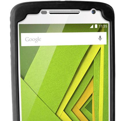 iGadgitz Black Tyre Tread Silicone Rubber Gel Skin Case Cover for Motorola Moto X Play XT1562 + Screen Protector Thumbnail 4