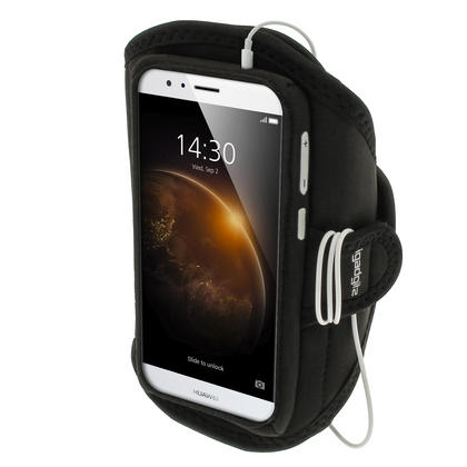 iGadgitz Water Resistant Black Sports Jogging Gym Armband for Huawei G8 Thumbnail 1