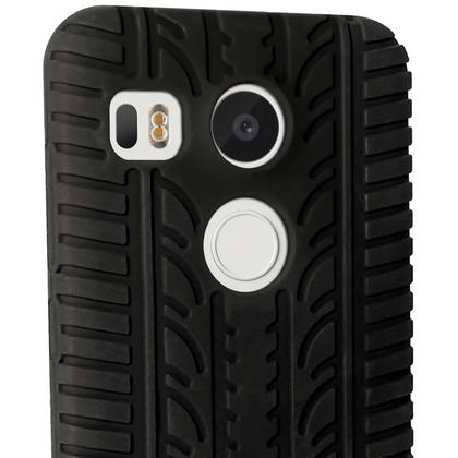 iGadgitz Black Tyre Silicone Gel Skin Case for LG Nexus 5X Rubber Cover + Screen Protector Thumbnail 3