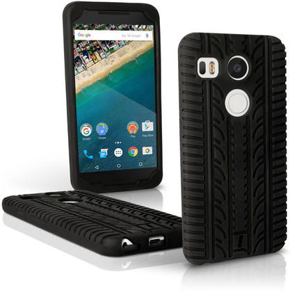 iGadgitz Black Tyre Silicone Gel Skin Case for LG Nexus 5X Rubber Cover + Screen Protector Thumbnail 1